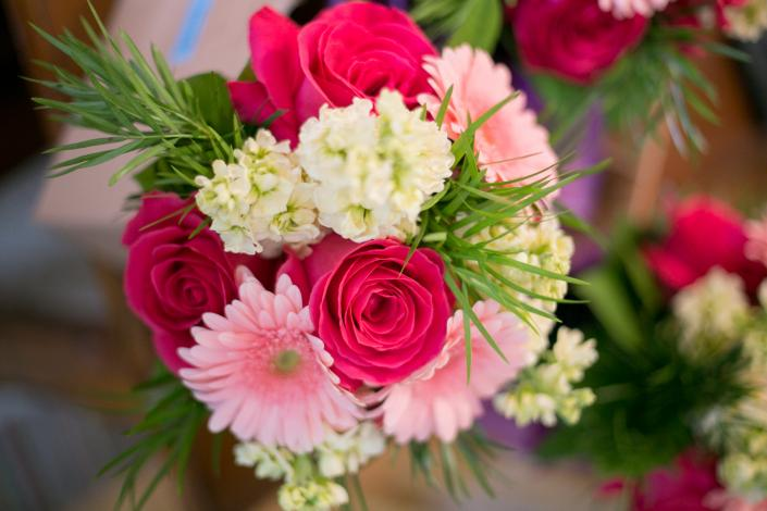 [Image: Hot pink roses, light pink gerber daisies, stock]