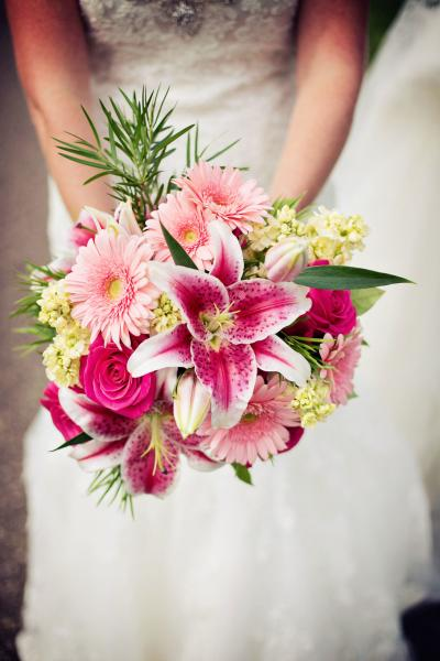 [Image:  Beautiful roses, gerbera daisies, mini hydrangea and stargazer lilies.]