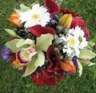 [Image: Green cymbidium orchids, berries, red miniature calla lilies, white gerbera daisies.]