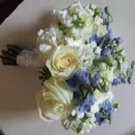 White stock, light blue delphinium and white roses.]