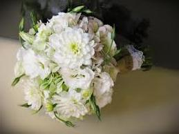 White dahlias, lisianthus, freesia.